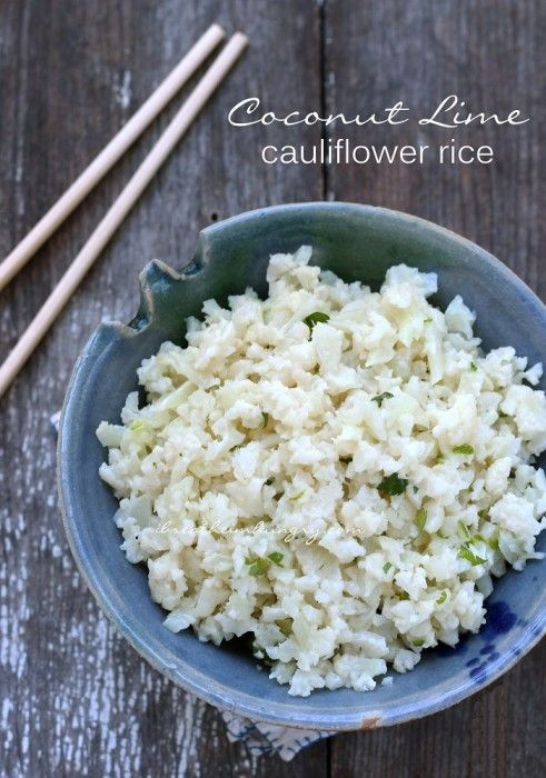 Coconut lime cauliflower rice! A flavorful low carb and keto friendly rice substitute made with chopped cauliflower. Gluten free, keto, low carb, paleo friendly!