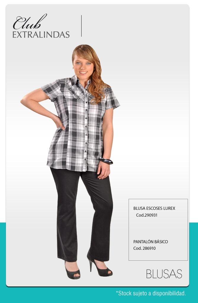 Blusa Escoses Lurex $ 14.990 / Pantalón básico $ 14.990