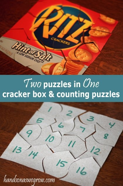 Create two puzzles from one cracker box (or cereal box) -- write numbers on the back to practice counting! So easy!