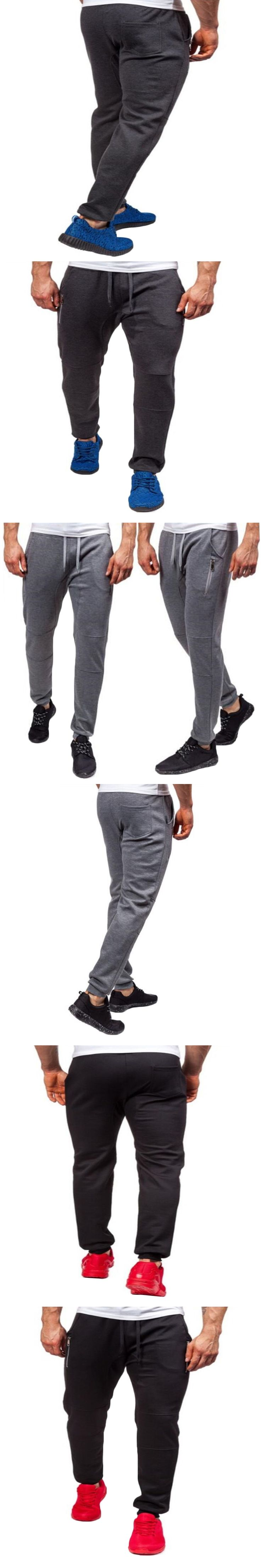 Mens Slim Fit Sweatpants Casual Tracksuit Bottoms Plain Men Fitness Workout Pants Track Long Joggers Sporting Trousers
