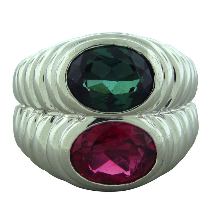 bvlgari bulgari platinum green pink tourmaline ring