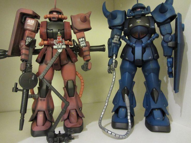 Bandai MG MS-06S Zaku II and MS-07B Gouf - airbrushed