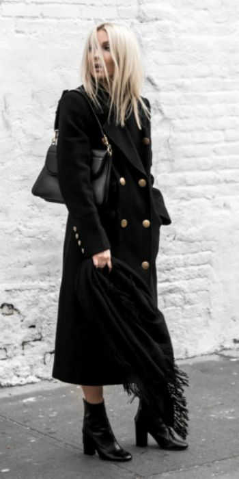 Figtny + head to toe + all black + heeled patent leather boots + military style maxi coat + gold button detailing + leather bag + oversized scarf + capture this style!   Coat: Marks & Spencer, Boots/Scarf: Moda Operandi, Bag: J.W Anderson.