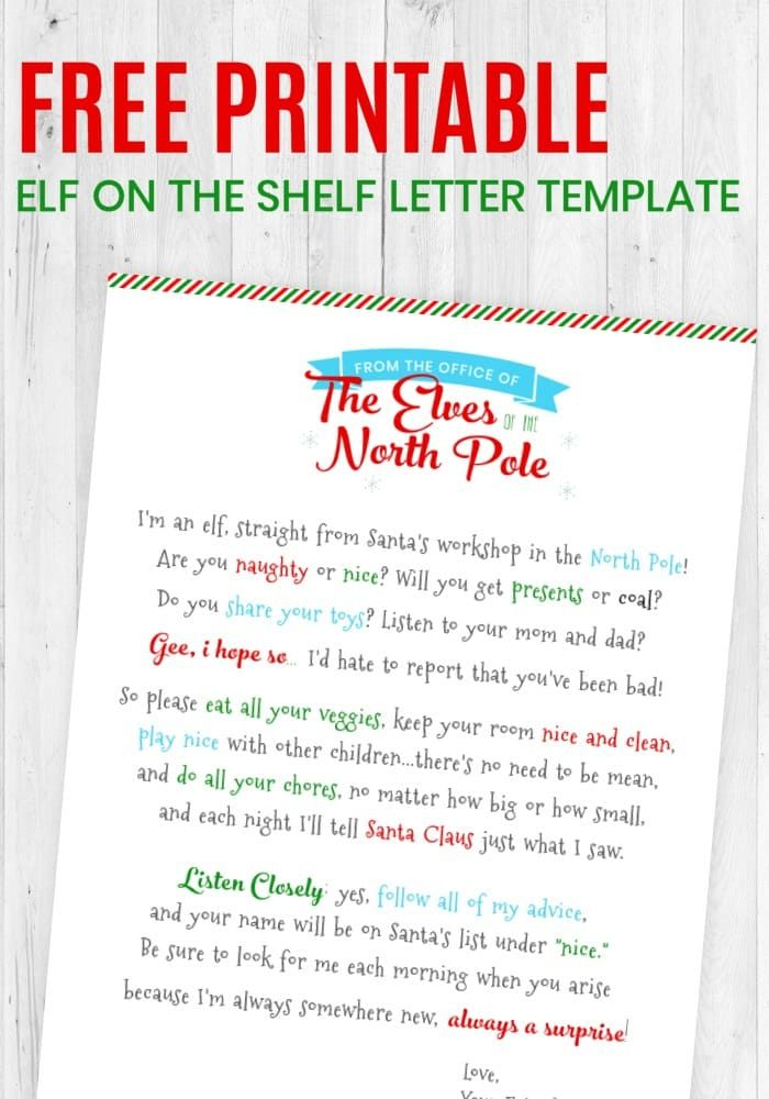 Fan image with free printable elf on the shelf letter