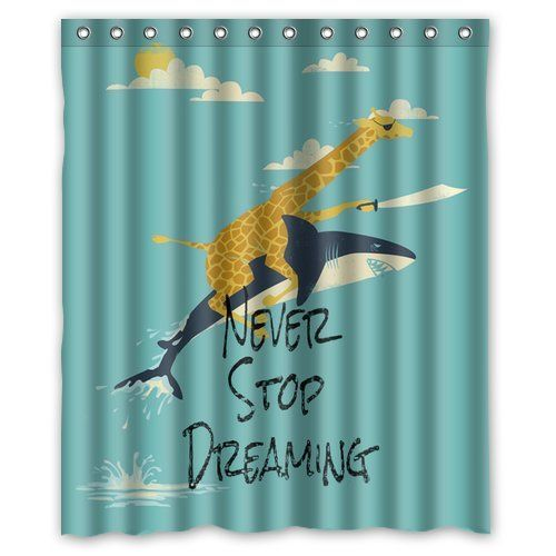 Generic Giraffe Riding Shark Never Stop Dreaming