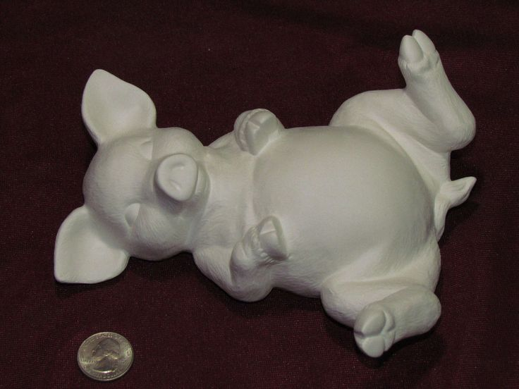 Ceramic Bisque U-Paint Piggy Pig Lying On Back Unpainted Ready To Paint Dog DIY by FatCatCeramicsCraft on Etsy