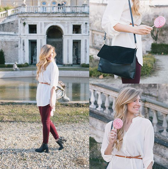 Get this look: http://lb.nu/look/8021464  More looks by Cristina Siccardi: http://lb.nu/csiccardi  Items in this look:  Gap Burgundy Leggins, Zara White Blouse, Bershka Black Leather Ankle Boots, Zara Black Leather & Suade Bag   #casual #classic #romantic #burgundy #maxishirt #ankleboots #gold