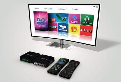 Sluit deze DVB-T2/S2 4K Android streambox aan op TV en stream films, werk uw Facebook bij, laat foto's zien of plan een gameavond met vrienden, allemaal via uw TV.