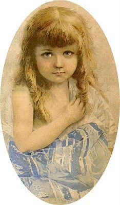 Vintage Grafische Beeld - Hart Zeesleepdiensten Pretty Little Girl - Fee van de Grafiek