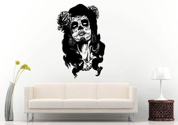 Sugar Skull Girl Face With White Eye's With Rose Flower In Long Hair Scary Makeup Halloween Wall Decal Vinyl Sticker Mural Room Decor L1280