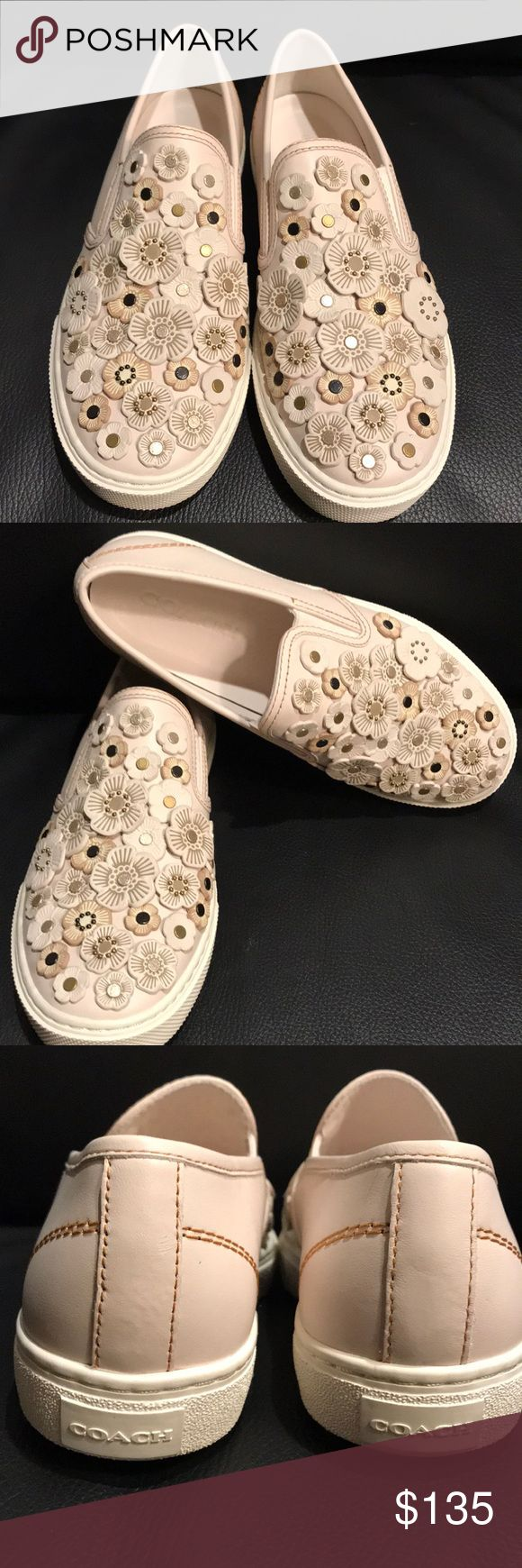 """Coach sneaker NEW with tea rose appliqué Beautiful and fun cream slip on Coach sneakers with 3D tea rose appliqué, pearly cabochons and glittery studs. Leather upper and leather lining and footbed, rubber sole. 1"""" platform. Coach Shoes Flats & Loafers"""