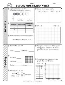 6th Grade Daily Math Spiral Review Morning Work EDITABLE | Tani ...