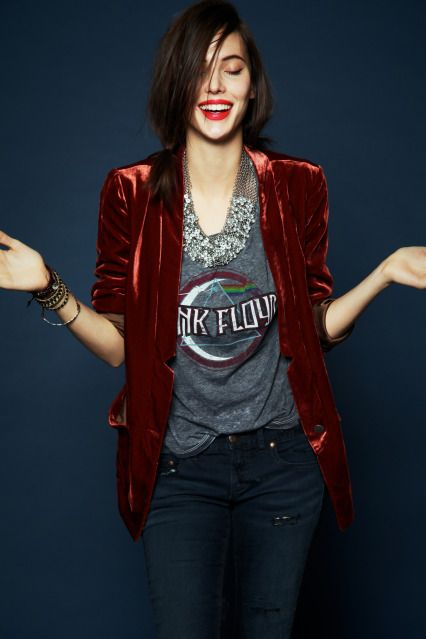 red velvet blazer and rock t