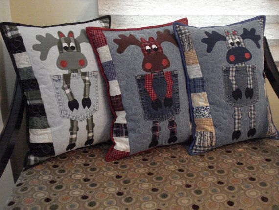 Pattern for Northern Moose  Quilted Pillow by BackPocketDesign, 10.00