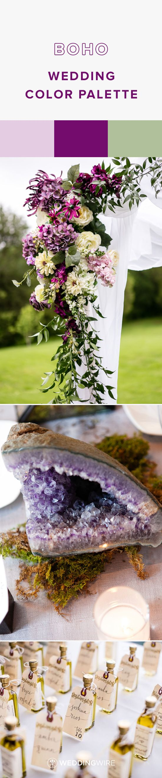 Boho Wedding Color Palette Idea - Lavender, Plum and Sage Green Boho Wedding Color Palette - see more wedding color palette ideas on @weddingwire! {The Collection; Melissa Kelsey Photography; Kreate Photography & Design}