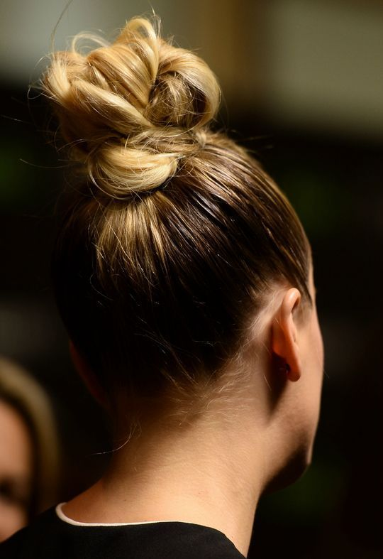 Perfect top knot for long hair.