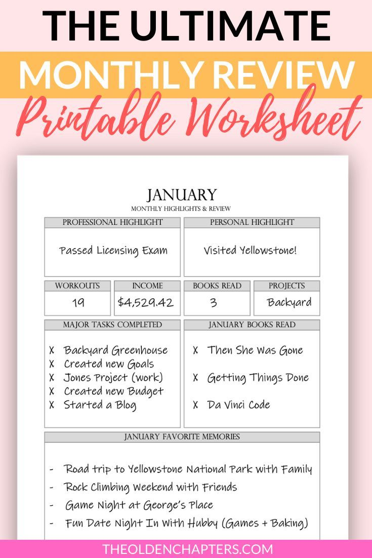 Monthly Goal Reflection Printable Worksheets Goal Worksheet Etsy Printable Worksheets Goals Printable School Planner Printables