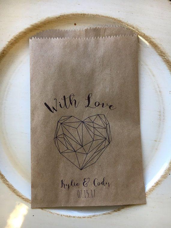 Sacs de bonbons mariage géométrique coeur thème par DetailsonDemand