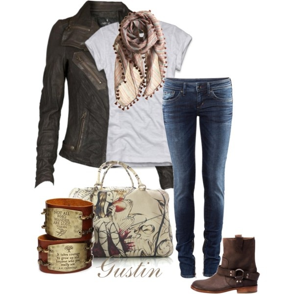 biker boots, created by #gustinz on #polyvore. #fashion #style Abercrombie & Fitch All Saints