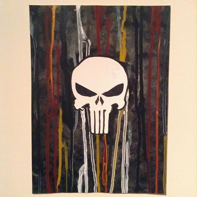 The soldier, the father, the husband, the man. The Punisher.  #water #color #color #watercoloring #watercolor #geeky #marvel #punisher #logo #skull #art #artishard