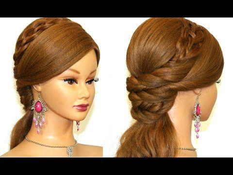 Easy prom hairstyles for long hair. Romantic bridal hairstyle. - YouTube