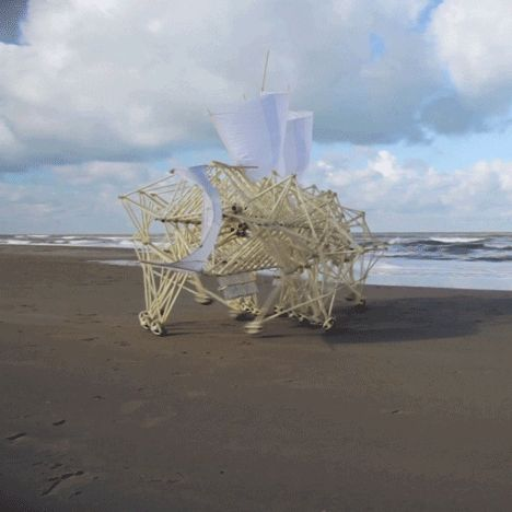 "Dutch sculptor Theo Jansen has spent the last 24 years developing a series of wind-powered machines called Strandbeests that he describes as ""a new species on Earth""."