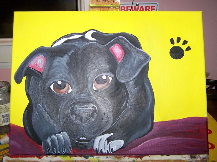 Puppy pawprint Staffy, cartooned from photo for buyer