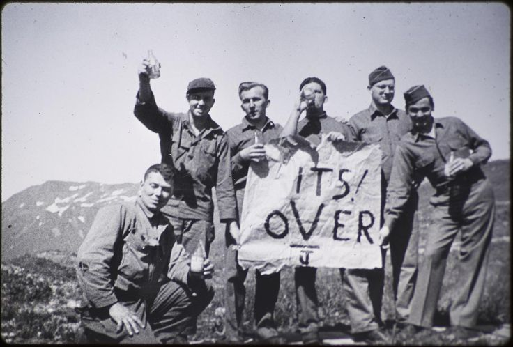 """historicaltimes:  """"American soldiers celebrating on Attu Island, Alaska the day after V-J Day. September 3, 1945  Keep reading  """""""