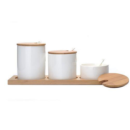 MIU COLOR™ Natural Bamboo Ceramic Canister Set, perfect for Salt, Pepper, etc.