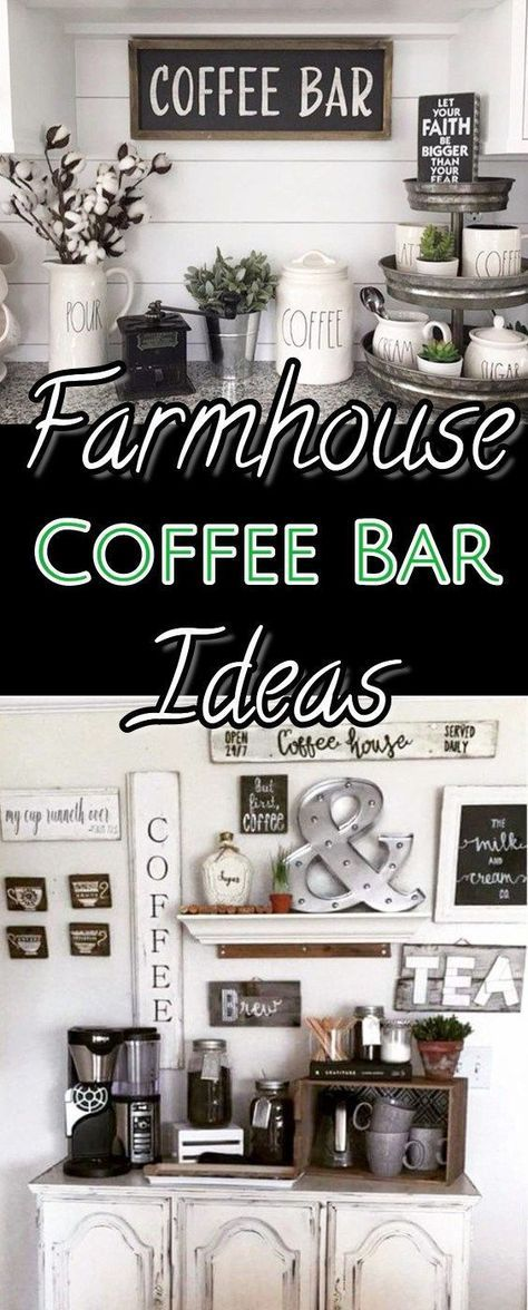 Coffee bar ideas and decor - DIY farmhouse style kitchen coffee bars and coffee station decor pictures