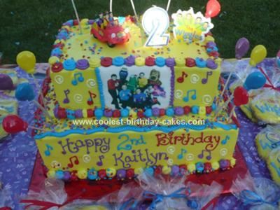 Homemade Wiggles Birthday Cake: My daughter just loves The Wiggles. So when it was time to make her 2nd birthday cake it just had to be a Wiggles birthday cake!   I made her a two tiered