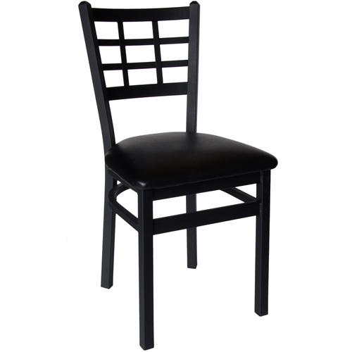 Marietta Black Metal Window Pane Back Restaurant Chair with Padded Seat - These attractive Marietta black metal window pane backrestaurant chairs with padded seat from BFM Seating are built to last with sturdy, sand black metal frames and backs. Offered at a very competitive price, these black metal restaurant chairs are available with multiple vinyl padded restaurant chair seat colors for a modern look to meet your facility's commercial restaurant chair needs.  [2163C-SBV]