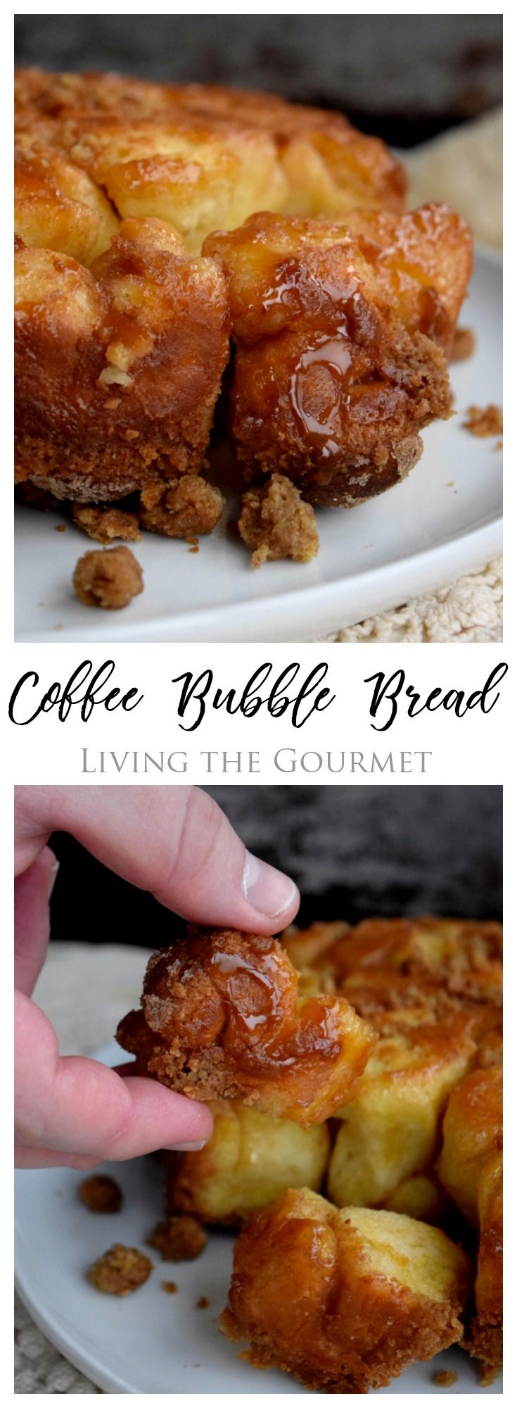 The mornings are getting chillier and the days are getting shorter, time to break out those cozy knit sweaters and get out baking game on. This Coffee Bubble Bread is a cross between coffee cake and monkey bread. It's sweet, sticky and perfect in the AM with your favorite cup of java.