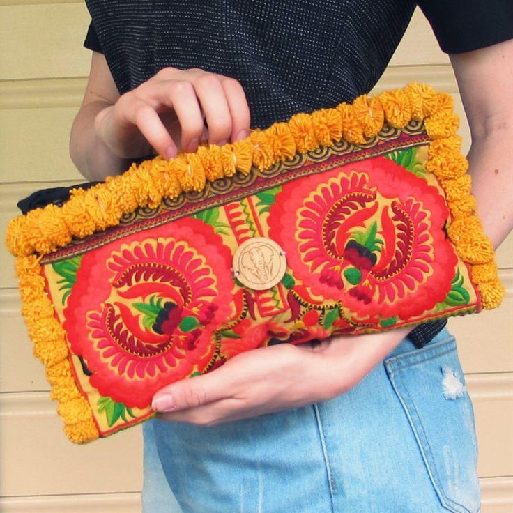 Orange Lotus Pom-Pom Clutch | Project Elephant