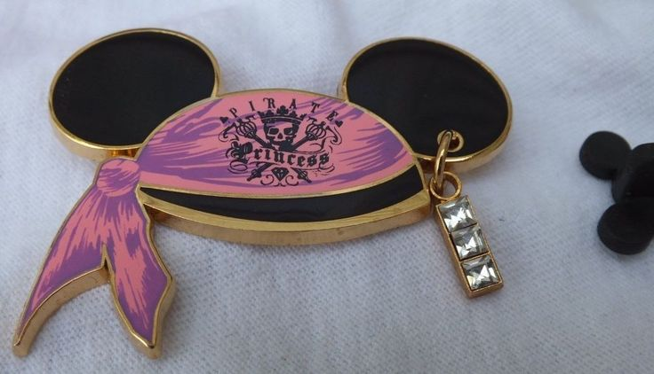 Disney Pirate Princess Jewel Dangle Trading Pin Pink Mickey Mouse Ear Hat 2008 #Disney