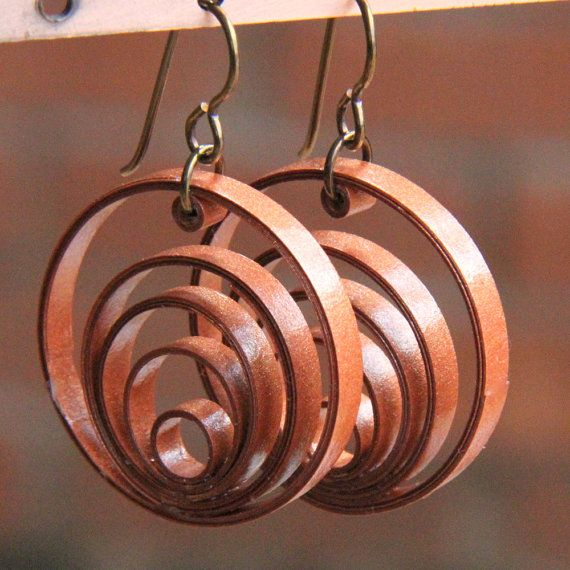 Copper Hoop Niobium Earrings Paper Jewelry ~ could also use leather, polymer clay, braided or woven wire, birch bark, etc.