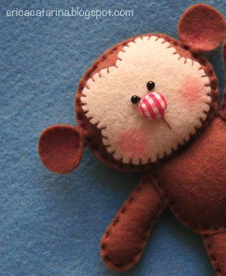 Felt Monkey ~ cute gingham nose