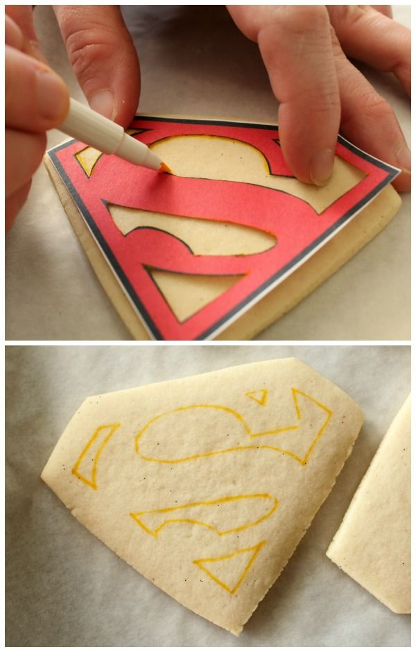 Perfect Superman Cookies - Neat technique for making a  stencil to decorate cookies!