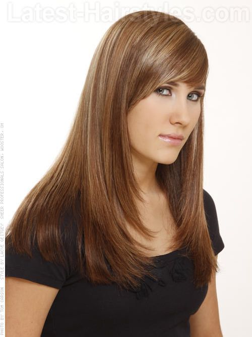 Long Angled Bob Haircut Brunette