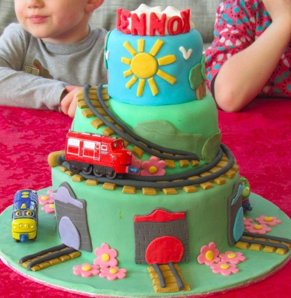 Chuggington stacked round cake with tracks and colored tunnels.  Made by a #Chuggington FB fan!