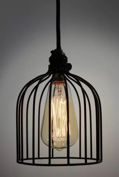 $125 40W Black wire cage pendant light shade with cloth cord and a black ceiling plate.These industrial lights will make any room look cool & funky. Use it as a single pendant or line up 2 or 3 over a dining table or breakfast bar.
