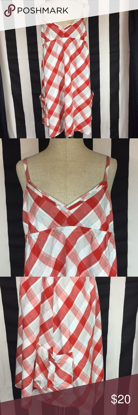 """Roxy beach dress swim coverup sz large Roxy beach dress swim coverup in red, white and blue plaid.  Two side pockets. In good condition Measures approximately 18"""" flat across chest and is approximately 26"""" from top of side seam to hem Roxy Dresses"""