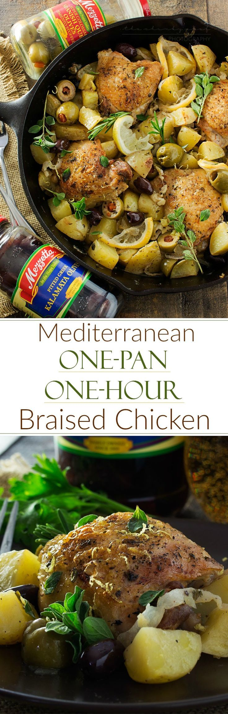 One Pan Mediterranean Braised Chicken   Fall in love with Mediterranean flavors with this easy and delicious one pan, one hour, braised chicken with creamy potatoes, roasted olives, bright lemon and f (Baking Potato In Oven)