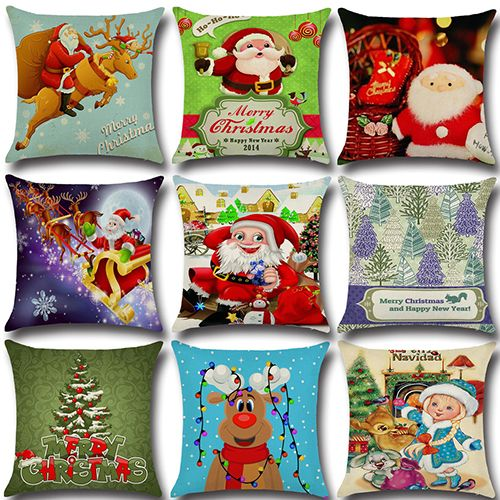 Christmas Decor Cushion Cover Waist Throw Pillow Case Santa Claus Sofa Home Car