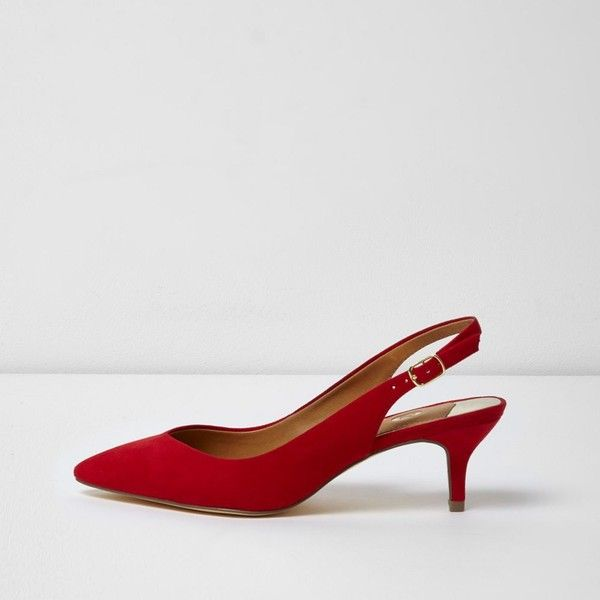 River Island Red slingback kitten heel shoes (270 SAR) ❤ liked on Polyvore featuring shoes, red, shoes / boots, women, pointed toe shoes, kitten heel slingbacks, river island, slip-on shoes and red mid heel shoes