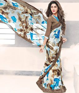 Buy Off White Georgette Printed Saree 77706 with blouse online at lowest price from vast collection of sarees at Indianclothstore.com.