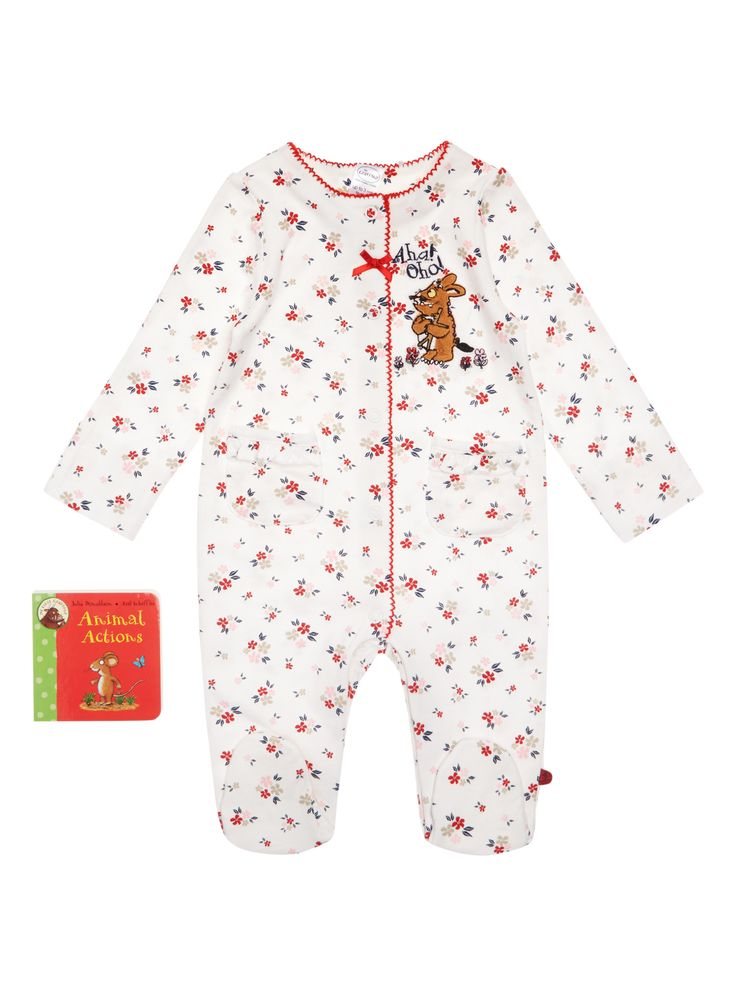 Make a delightful addition to baby's essential collection with this Gruffalo themed cotton sleep suit, which features toe protecters and built in scratch mitts. Perfect for bedtime, this suit comes complete with a storybook.  Girls white Gruffalo sleepsuit with book  Pure cotton  Toe protecters  Textured motif  Built in scratch mitts  Patch pockets  Scalloped edging  Floral print  Popper fastening  Keep away from fire