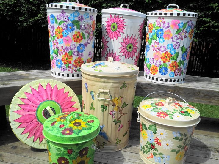 Assorted Hand Painted Trash Cans krystasinthepointe.com - ETSY