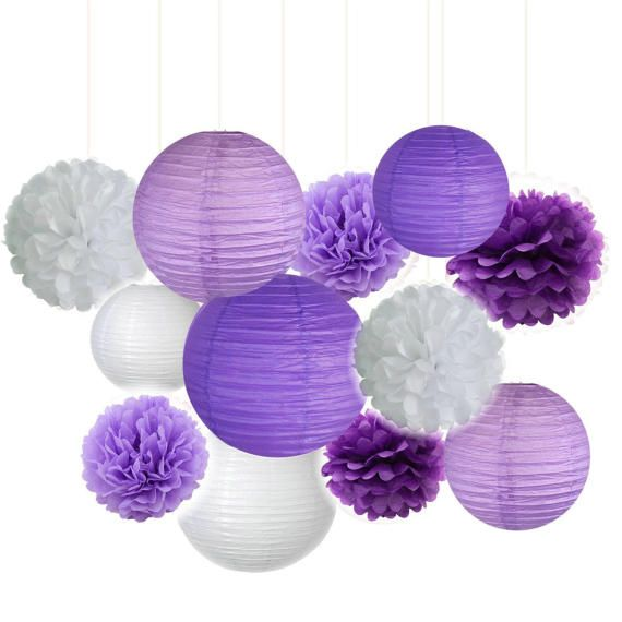 Fascola 12 pcs White Black Gold 10inch 8inch Tissue Paper Pom Pom Paper Lanterns Mixed Package for Lavender Themed Party Bridal Shower Decor Baby Shower Decoration