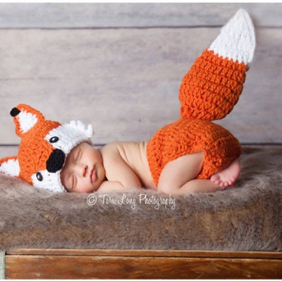 Crochet Fox Outfit Baby Baby Boys Fox Hat and Diaper Cover Fox Outfit Fox Set Fox Photoshoot